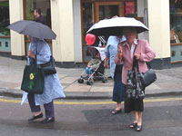 Original picture of ladies with umbrellas